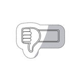 Sticker grayscale contour with 3d arm with hand with signal disappointed Royalty Free Stock Photography