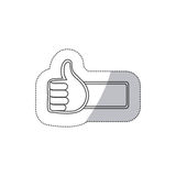 sticker grayscale contour with 3d arm with hand with signal ok Stock Image