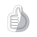 sticker grayscale contour with 3d hand with signal ok close up Stock Photography