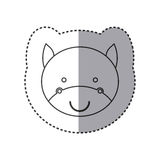 sticker of grayscale contour with face of bull Royalty Free Stock Photos