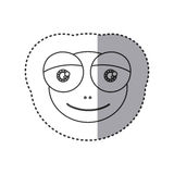 Sticker of grayscale contour with face of frog with big eyes Stock Image