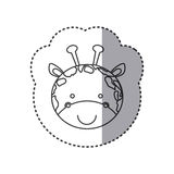 Sticker of grayscale contour with face of giraffe Royalty Free Stock Photo