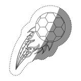 Sticker grayscale contour with olympic flame with soccer ball Stock Photography