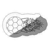 Sticker grayscale contour with olympic flame with stars and soccer ball Royalty Free Stock Images