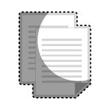 Sticker grayscale silhouette with document file Stock Photos