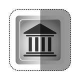 sticker grayscale square frame with parthenon icon Stock Photo