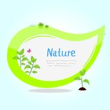 Sticker green. Eco illustration of sticker in the shape of a leaf with sprouts Royalty Free Stock Photography