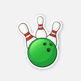 Sticker green bowling ball knocks down pins vector illustration