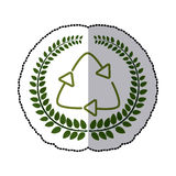 Sticker green leaves with recycling symbol Stock Photo