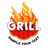 Sticker grill with flames Stock Photos