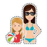 Sticker half body cartoon blond girl with woman in bikini Royalty Free Stock Images