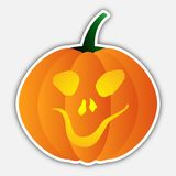Sticker - halloween orange pumpkin, head with face Stock Image