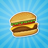 Sticker hamburger with cheese, tomato and salad Royalty Free Stock Photos