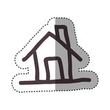 Sticker hand drawing silhouette house icon Royalty Free Stock Photos