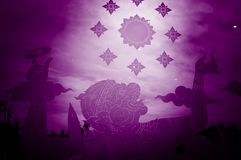 Sticker hanuman on glass. ,Effect violet tone royalty free stock image