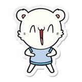 Sticker of a happy polar bear cartoon. Illustrated sticker of a happy polar bear cartoon stock illustration