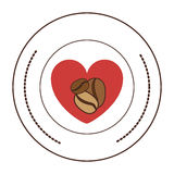 Sticker with heart inside coffee beans in different sizes. Illustration Royalty Free Stock Image