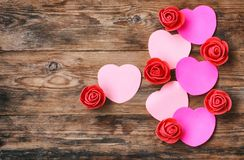 Valentine`s day composition, sticker heart shape, red rose Royalty Free Stock Photo