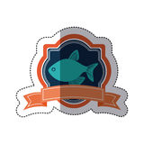 Sticker heraldic borders with crown branch with fish and label. Illustration Stock Images