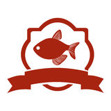 Sticker heraldic borders with fish and label Royalty Free Stock Photo