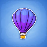 Sticker of hot air balloon. Vector illustration. Hot air balloon on sky background. Summer journey by air transport. Sticker in cartoon style with contour Royalty Free Stock Images