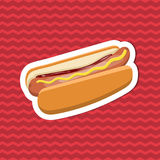 Sticker of hot dog with mustard and ketchup on red striped background. Graphic design elements for menu, poster Stock Image