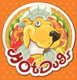 Sticker HotDogs 2018. Vector illustration royalty free stock photography