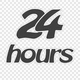 Sticker 24 hours. Vector isolated on a transparent background.  Royalty Free Stock Photo