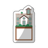 Sticker of house with terrace and label Royalty Free Stock Images