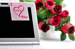 Sticker  I Love You on a laptop. Royalty Free Stock Photo