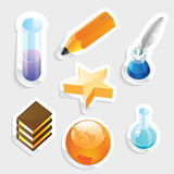Sticker icon set for education Royalty Free Stock Photo