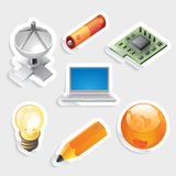 Sticker icon set for industry and technology Royalty Free Stock Images