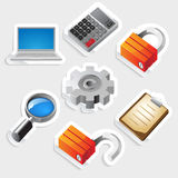 Sticker icon set for interface Stock Photo