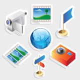 Sticker icon set for travel. And tourism.  Vector illustration Royalty Free Stock Image