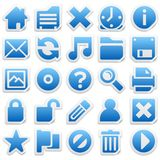 Sticker icons. Set of blue sticker icons with peeled corners Royalty Free Stock Images