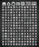 200 Sticker Icons. For any purpose Royalty Free Stock Image