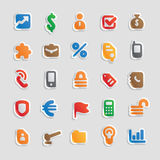 Sticker icons for business. Sticker button set. Multicolored icons for business, finance and security. Vector illustration Royalty Free Stock Photography