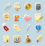 Sticker icons for business and finance. Sticker button set. Icons for business and finance. Vector illustration Stock Photos
