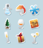 Sticker icons for christmas Stock Photography