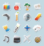 Sticker icons for entertainment Royalty Free Stock Images