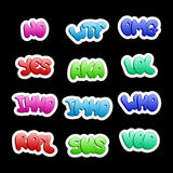 Sticker icons with halftone texture. A set of abbreviations, red. Uctions of slang phrases for social networks and messengers Royalty Free Stock Images