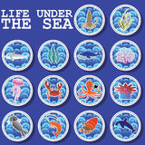 Sticker icons life under the sea Royalty Free Stock Images