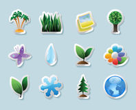 Sticker icons for nature Stock Photos