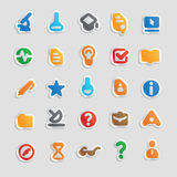 Sticker icons for science. Sticker button set. Icons for science and education. Vector illustration Stock Images