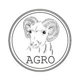 Sticker with the image of a sheep for sale in agronomy, farm. It Stock Images