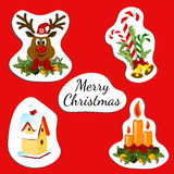 Sticker with inscription Merry christmas. Royalty Free Stock Images