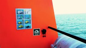 Sticker with instructions on tug deck. Life raft with manual inflatable for emergency use to escape. stock video