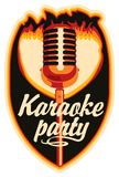 Sticker for a karaoke party. With a microphone and fire Stock Image