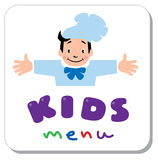 Sticker for Kids Menu with funny cook boy and logo Royalty Free Stock Images