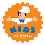 Sticker for Kids Menu with funny cook boy and logo Stock Image